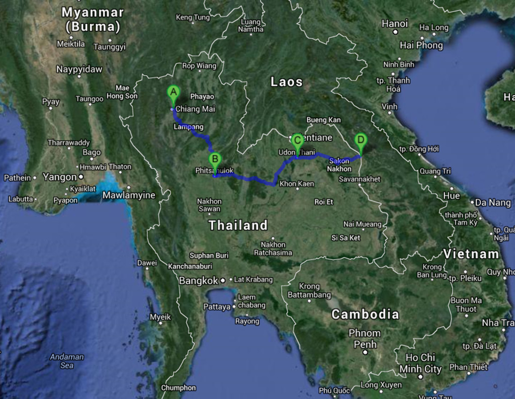 Google Map view of my trip across Thailand