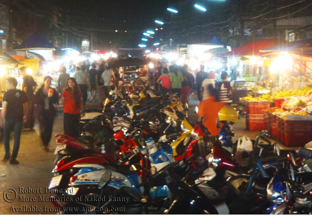 The night market in downtown Nakhon Phanom. There were at least 100 scooters parked there.